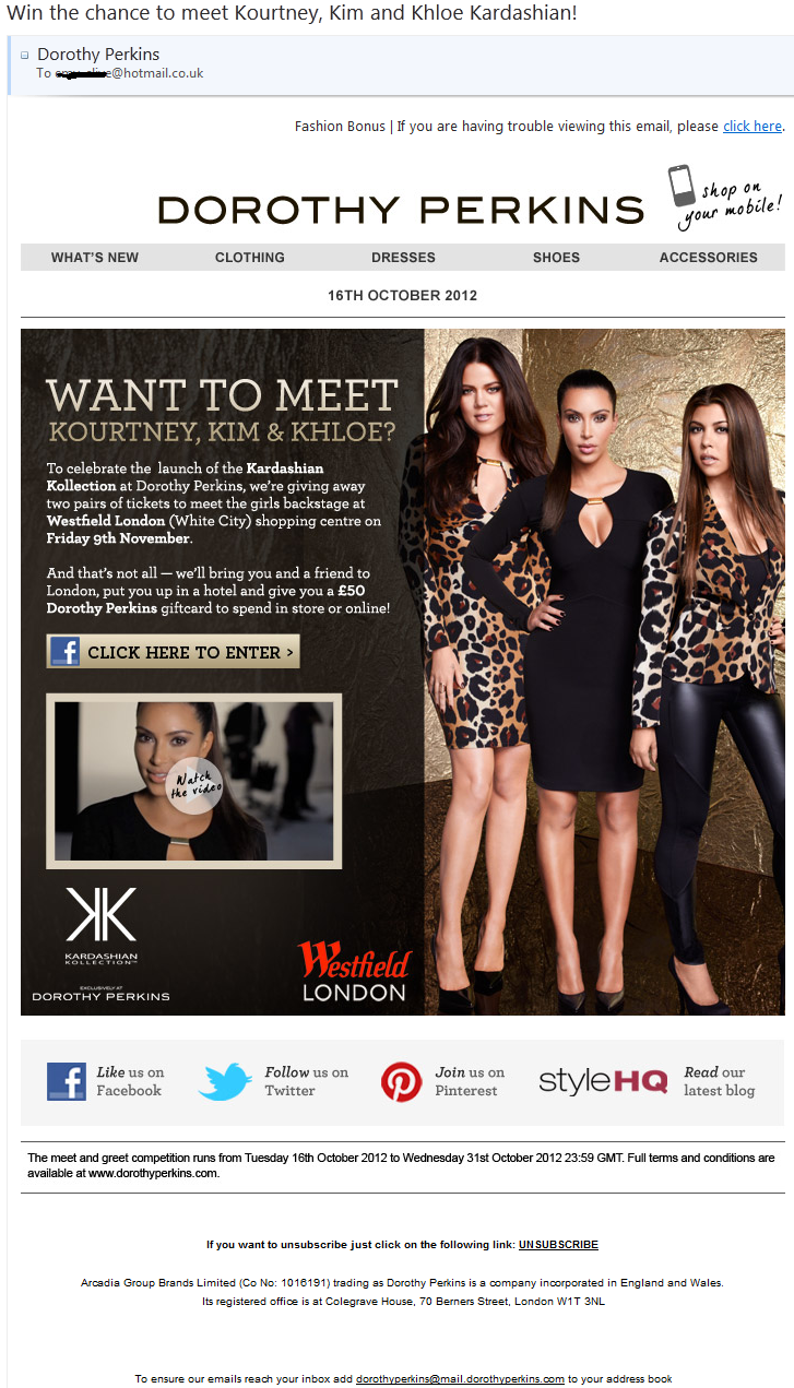 Dorothy Perkins Win meeting Kardashians