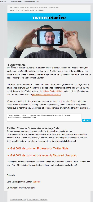 TwitterCounter Tweet Intent CTA
