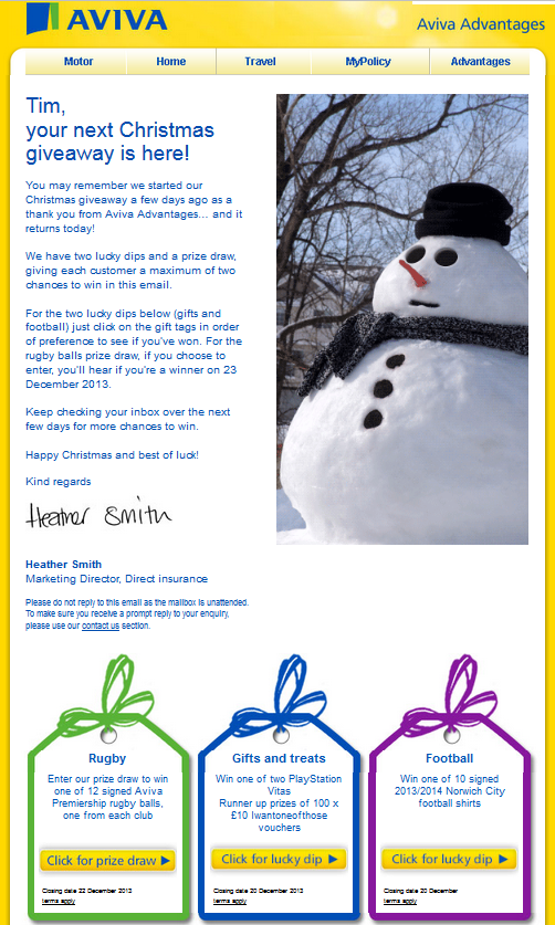 Aviva Christmas wish