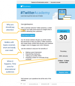 Twitter using email for webinar promotion