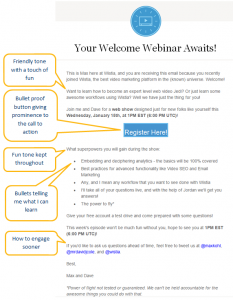 Wistia Webinar Email Example invite