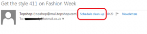 Hotmail Schedule clean-up header