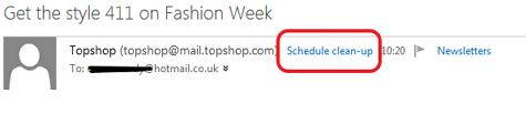Hotmail Schedule clean-up header