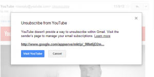 Gmail Unsubscribe dialog
