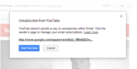 Gmail Unsubscribe dialog