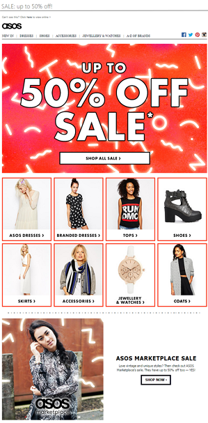 ASOS conversion email example