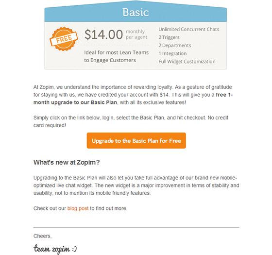 Zopim email creative example