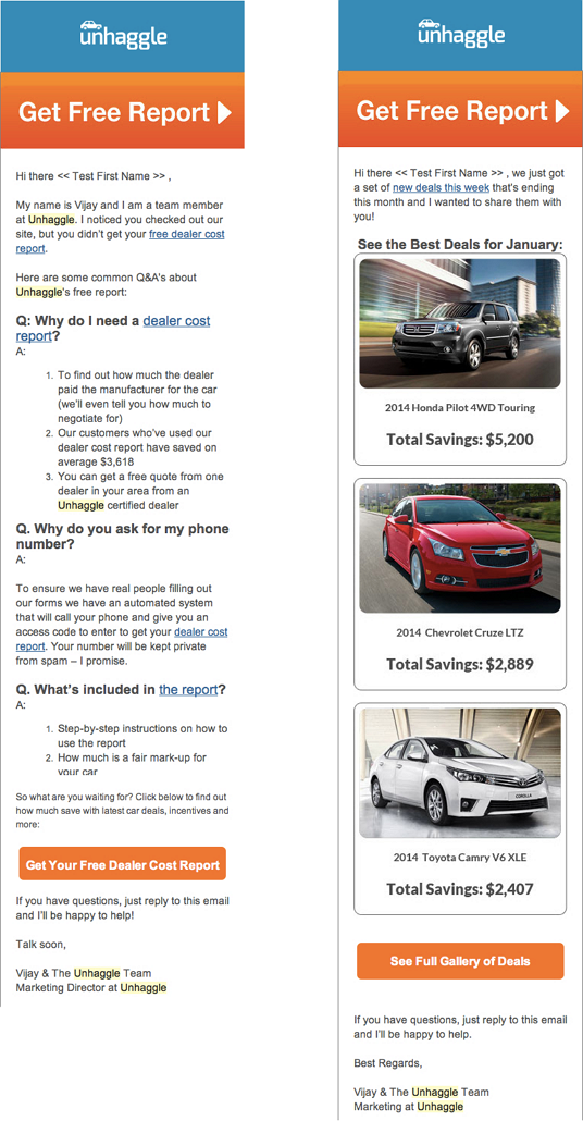 UnHaggle example email designs