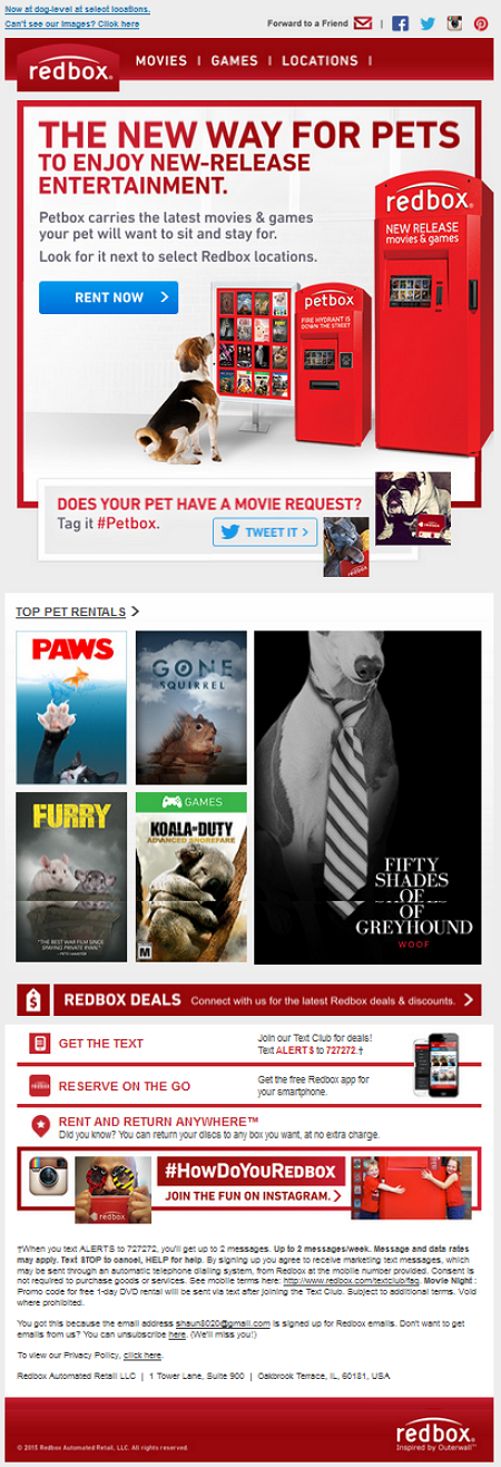 Redbox April Fool Email Creative Example