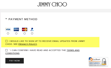 Jimmy Choo Checkout Email Consent example Optin Permission
