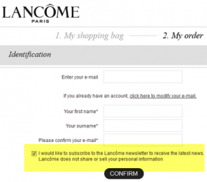 Lancome checkout email consent optout