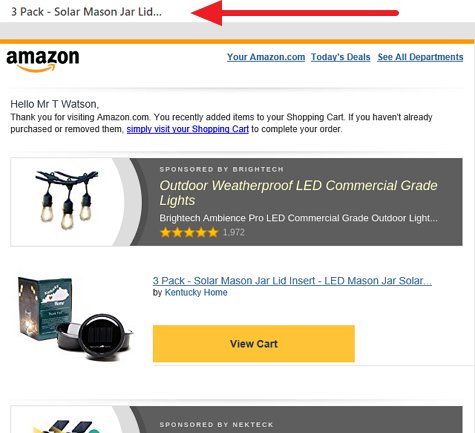 Abandon cart subject line example
