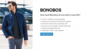 Bonobos unsubscribe page example