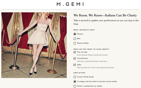 M Gemi unsubscribe page examples