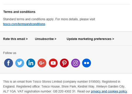 Tesco good unsubscribe link example