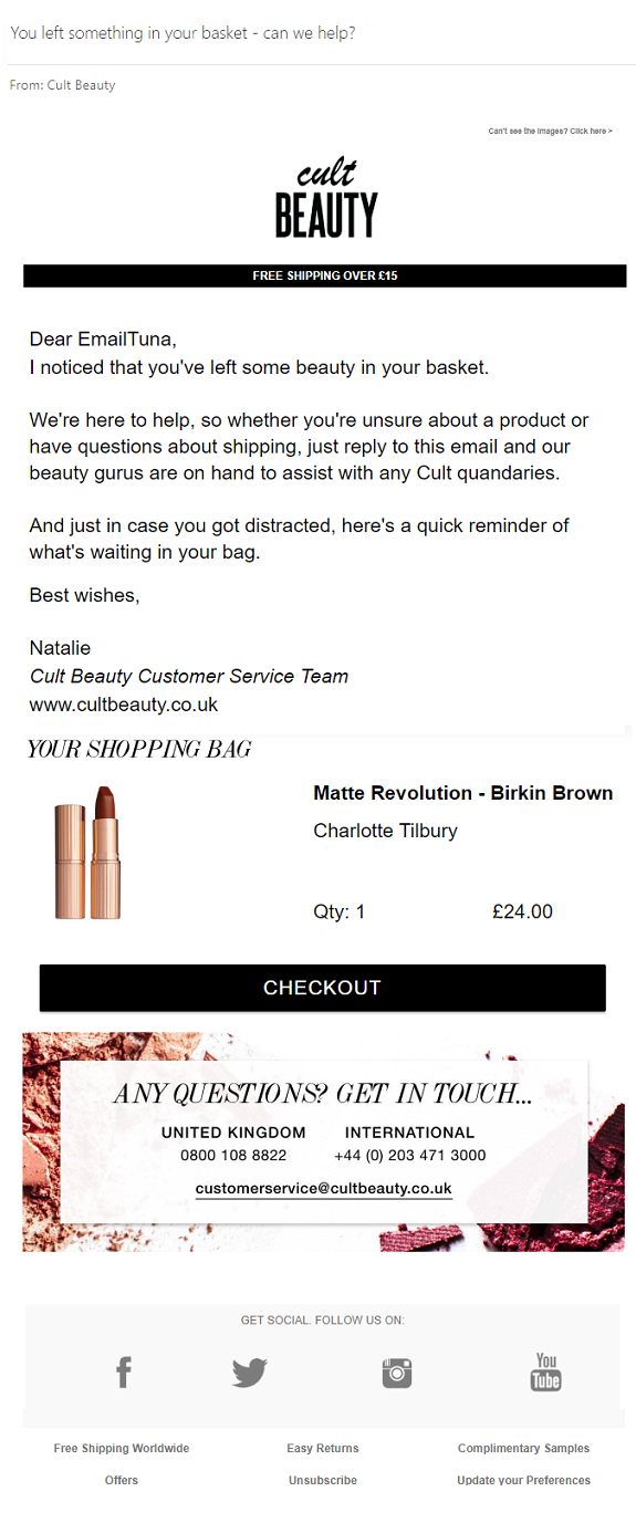 Cult Beauty Abandon Cart Email
