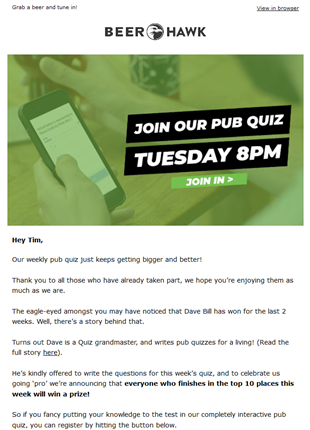 Beer Hawk Virtual Pub Quiz