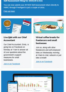 FreeAgent Virtual Coffee Morning Email